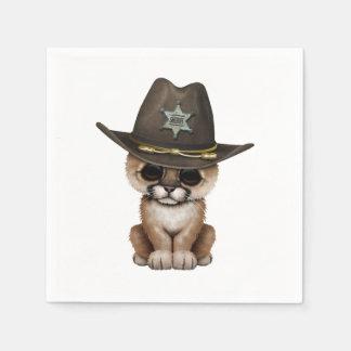Cute Baby Cougar Cub Sheriff Paper Napkin