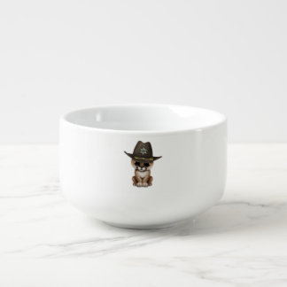 Cute Baby Cougar Cub Sheriff Soup Mug