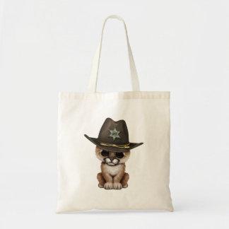Cute Baby Cougar Cub Sheriff Tote Bag