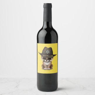Cute Baby Cougar Cub Sheriff Wine Label