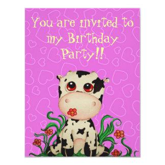Cute Baby Cow Birthday Party Invitation