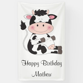 Cute Baby Cow Cartoon Banner