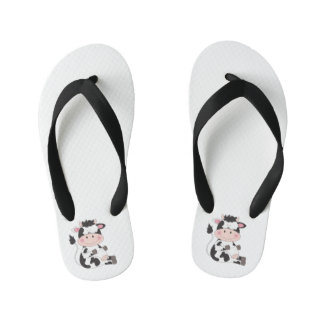 Cute Baby Cow Cartoon Kid's Flip Flops