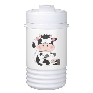 Cute Baby Cow Cartoon With His Favorite Treat Drinks Cooler