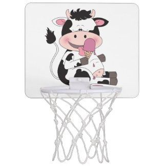 Cute Baby Cow Cartoon With His Favorite Treat Mini Basketball Backboard