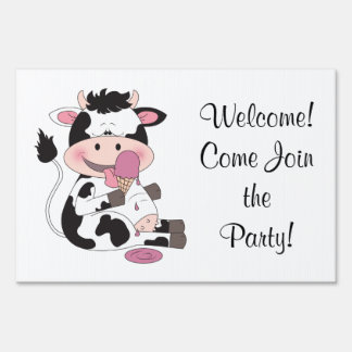 Cute Baby Cow Cartoon With His Favorite Treat Sign