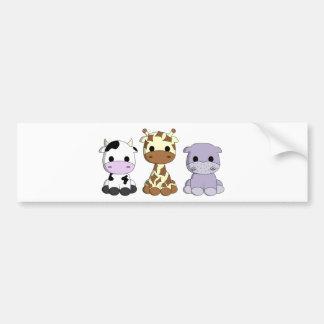 Cute baby cow giraffe hippo cartoon bumper sticker