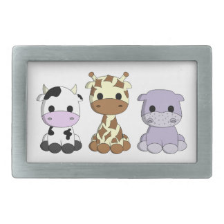 Cute baby cow giraffe hippo cartoon girls rectangular belt buckle