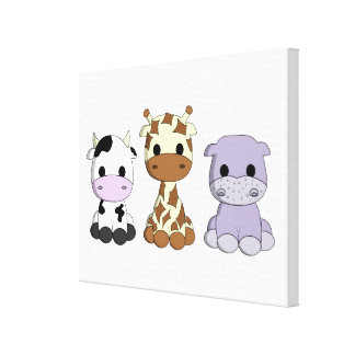 Cute baby cow giraffe hippo cartoon kids canvas print