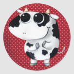 Cute Baby Cow Round Stickers