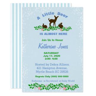Cute Baby Deer Baby Shower Invitation (Blue)