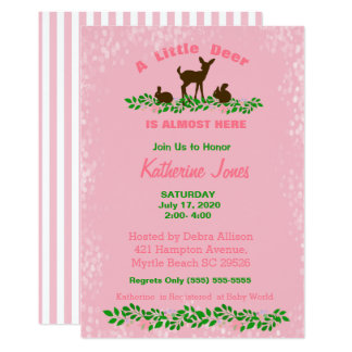 Cute Baby Deer Baby Shower Invitation(Pink) Card