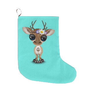 Cute Baby Deer Hippie Large Christmas Stocking