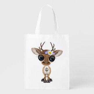 Cute Baby Deer Hippie Reusable Grocery Bag