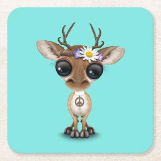 Cute Baby Deer Hippie Square Paper Coaster