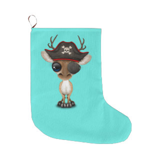 Cute Baby Deer Pirate Large Christmas Stocking