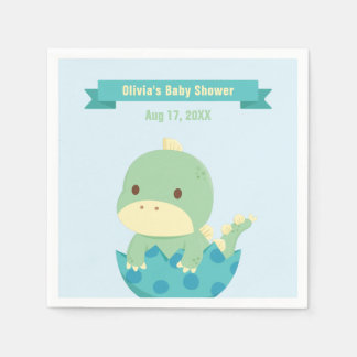Cute Baby Dinosaur About to Hatch Party Supplies Paper Napkin
