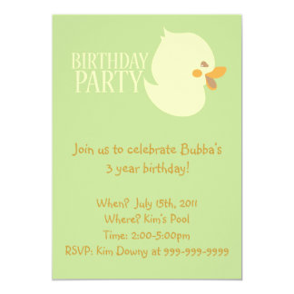 "Cute Baby Duckling Rubber Ducky Birthday Invites 5"" X 7"" Invitation Card"