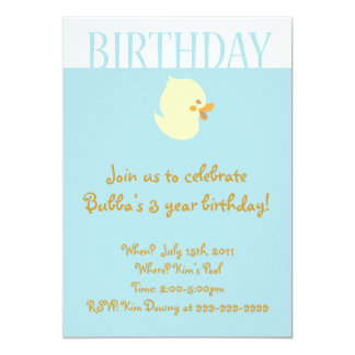 Cute Baby Duckling with Blue Birthday Invitation