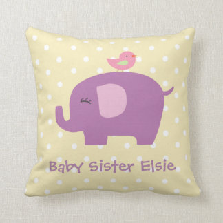 Cute Baby Elephant and Bird Personalized Pillow