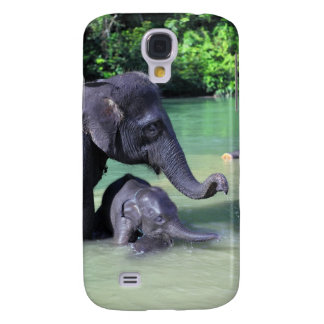 Cute baby elephant bathing in river with mother galaxy s4 cover