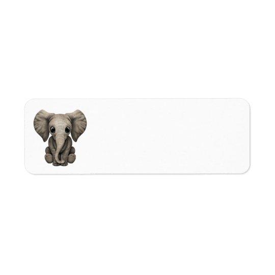 Cute Baby Elephant Calf Sitting Down Return Address Label
