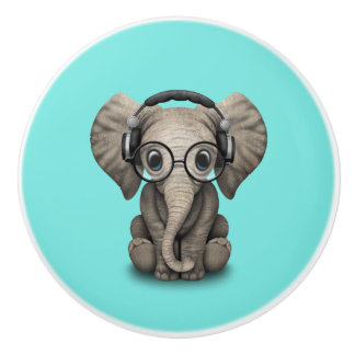 Cute Baby Elephant Dj Wearing Headphones and Glass Ceramic Knob