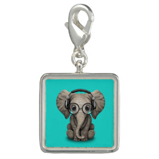 Cute Baby Elephant Dj Wearing Headphones and Glass Charms
