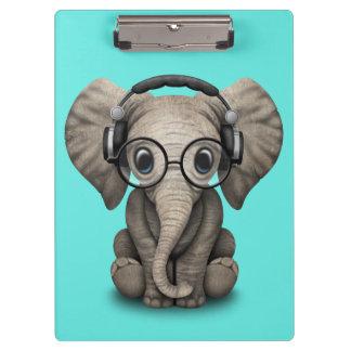Cute Baby Elephant Dj Wearing Headphones and Glass Clipboard