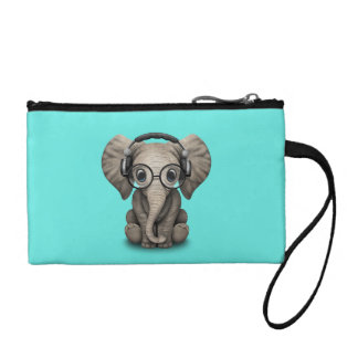 Cute Baby Elephant Dj Wearing Headphones and Glass Coin Purse