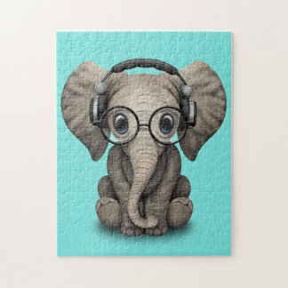 Cute Baby Elephant Dj Wearing Headphones and Glass Jigsaw Puzzle