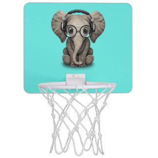 Cute Baby Elephant Dj Wearing Headphones and Glass Mini Basketball Backboard