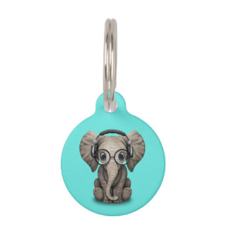 Cute Baby Elephant Dj Wearing Headphones and Glass Pet Name Tag