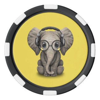 Cute Baby Elephant Dj Wearing Headphones and Glass Poker Chips
