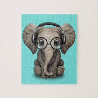 Cute Baby Elephant Dj Wearing Headphones and Glass Puzzle