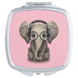 Cute Baby Elephant Dj Wearing Headphones and Glass Vanity Mirror