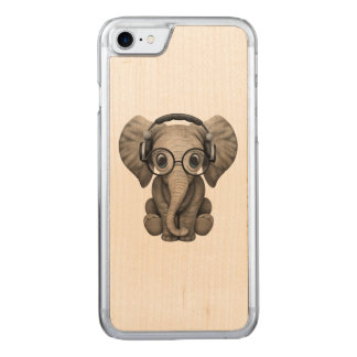 Cute Baby Elephant Dj Wearing Headphones Carved iPhone 8/7 Case