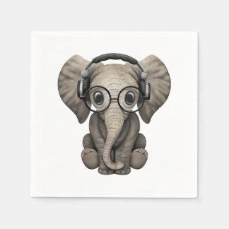 Cute Baby Elephant Dj Wearing Headphones Disposable Napkin