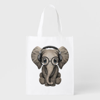 Cute Baby Elephant Dj Wearing Headphones Reusable Grocery Bag