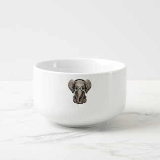 Cute Baby Elephant Dj Wearing Headphones Soup Mug