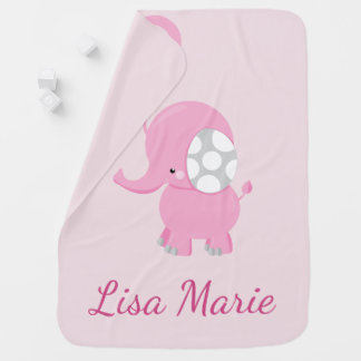 Cute Baby Elephant for Girl Baby Blanket
