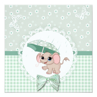 Cute Baby Elephant Green Baby Sprinkle Shower Card