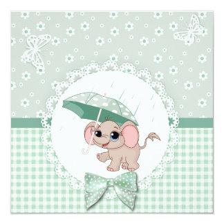 Cute Baby Elephant Green Baby Sprinkle Shower Card