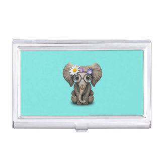 Cute Baby Elephant Hippie Business Card Holder