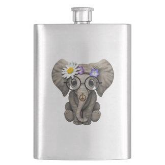 Cute Baby Elephant Hippie Hip Flask