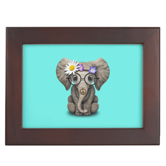 Cute Baby Elephant Hippie Keepsake Box