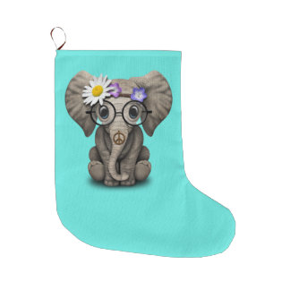 Cute Baby Elephant Hippie Large Christmas Stocking