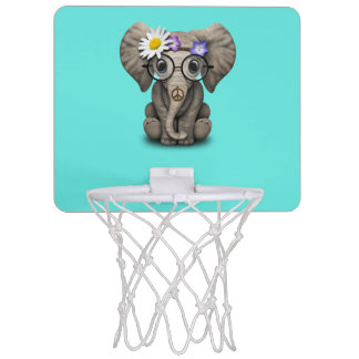 Cute Baby Elephant Hippie Mini Basketball Hoop