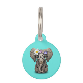 Cute Baby Elephant Hippie Pet Tag