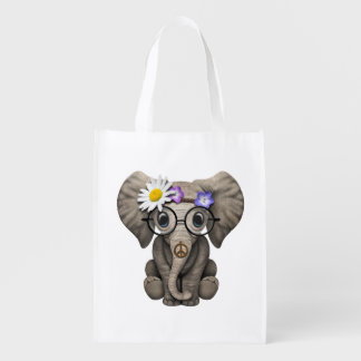 Cute Baby Elephant Hippie Reusable Grocery Bag